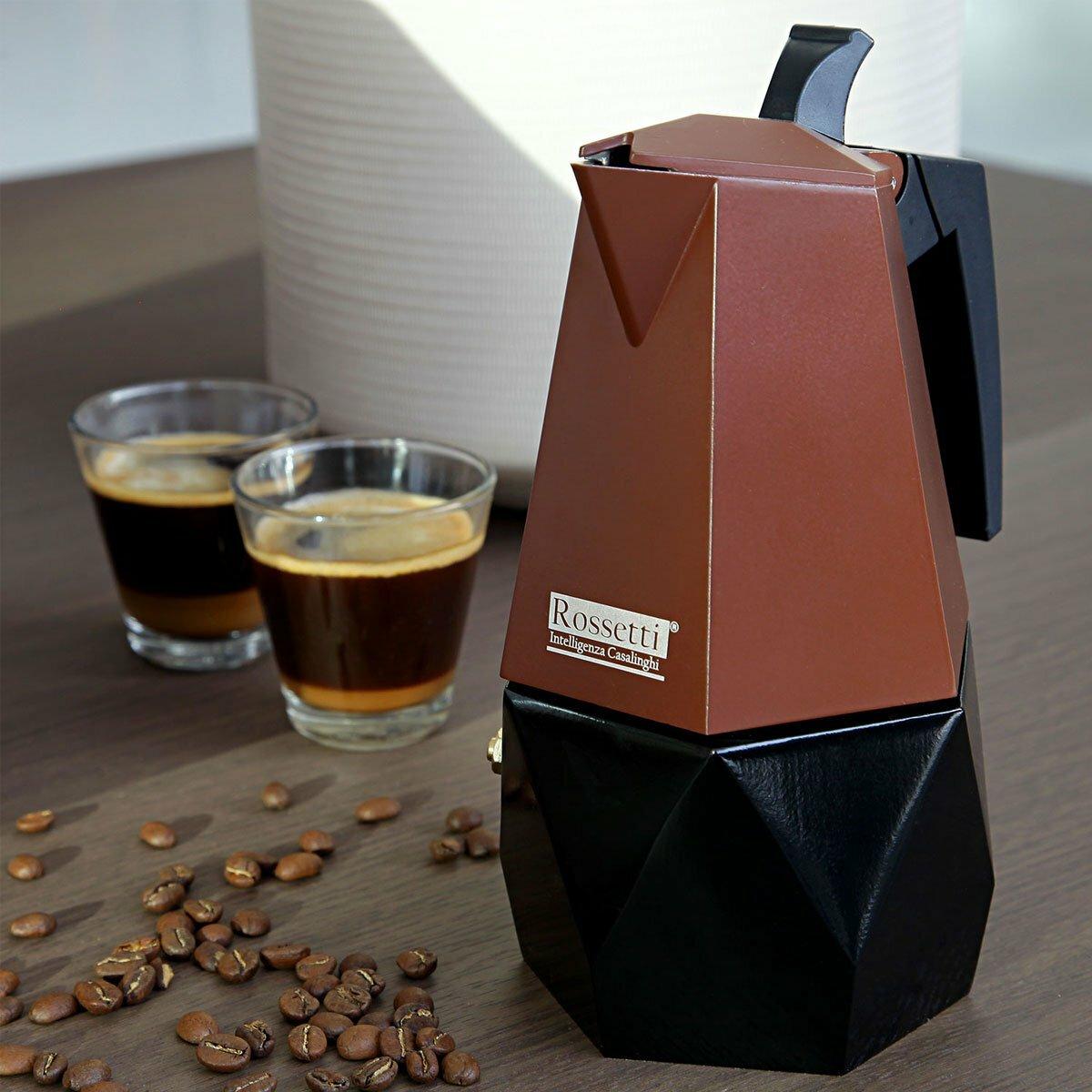 Italian Espresso Maker   Moka Stovetop Coffee Maker Pot   Brown Dark Espresso