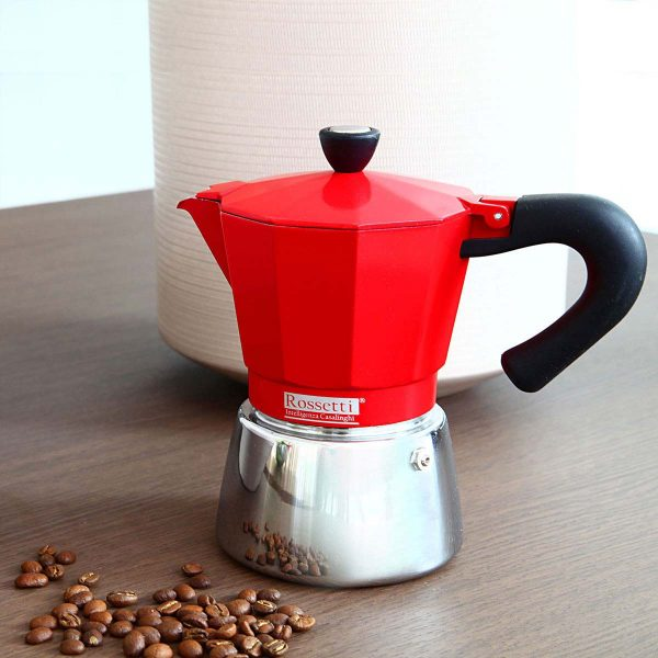Rossetti Moka Italian 3 Espresso Cup Red Induction Moka Coffee Espresso Maker Pot