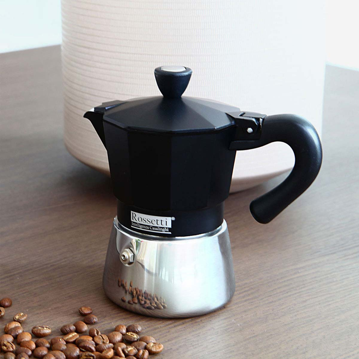 Rossetti Moka Italian 3 Espresso Cup black Induction Moka Coffee Espresso Maker Pot