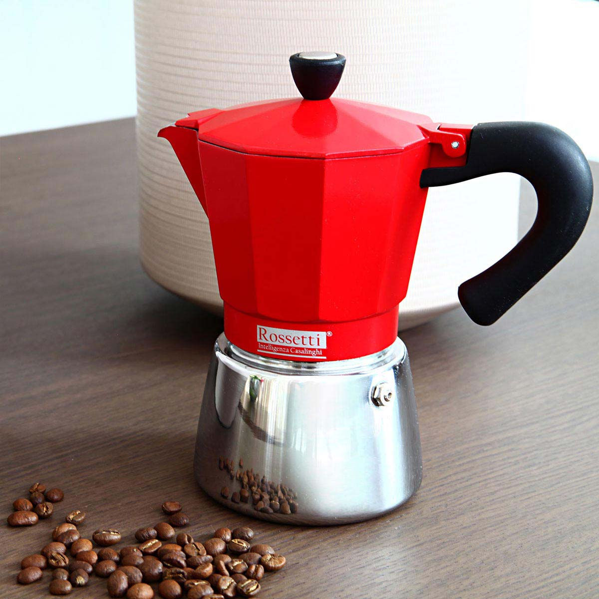 Rossetti Moka Italian 6 Espresso Cup Red Induction Moka Coffee Espresso Maker Pot